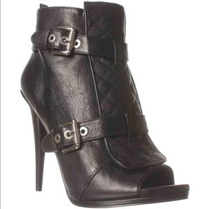 Nine West Arivaderci Black Peeptoe Bootie 6.5M